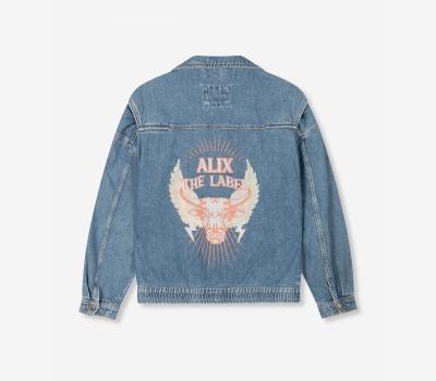 Woven Demin Biker Jacket Demin Blue