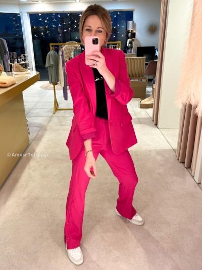 Woven Stretch Wide Leg Shocking pink