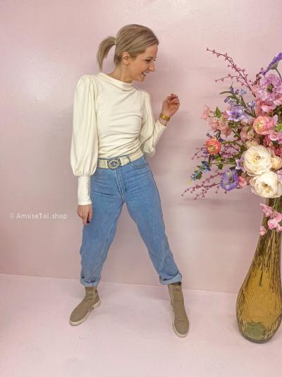 Rifa puff blouse egret