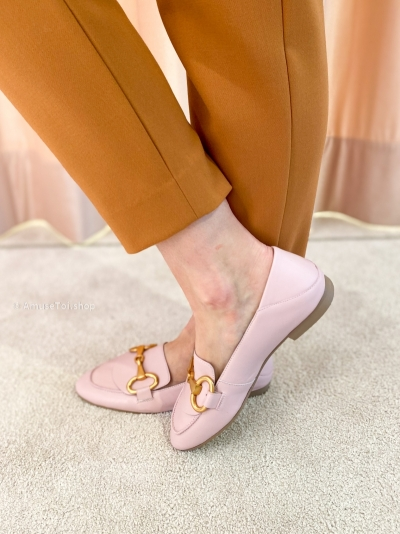 Moccasin ecru light pink