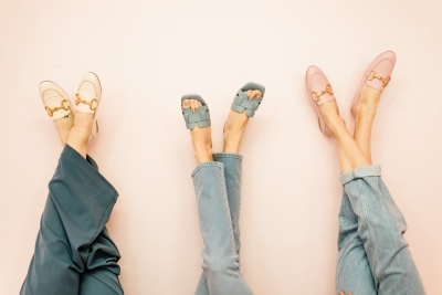 Square slippers  blauw