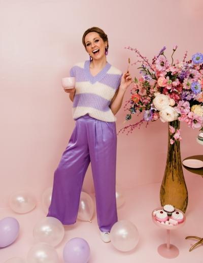 Silk pants rose purple