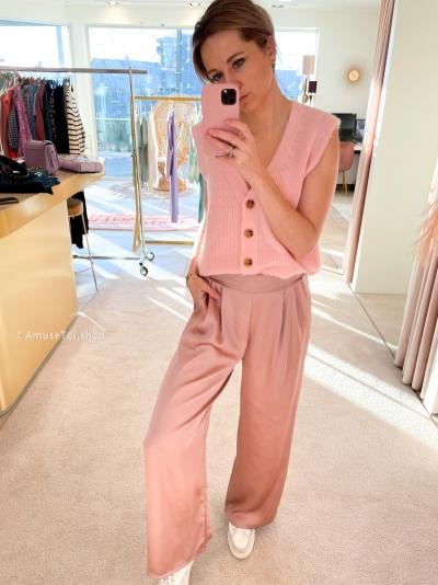 Silk pants rose logo