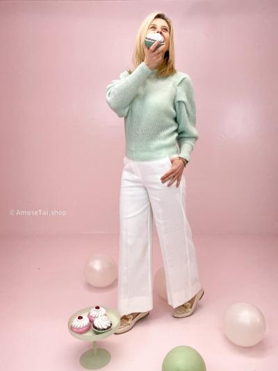 Line pants blanc