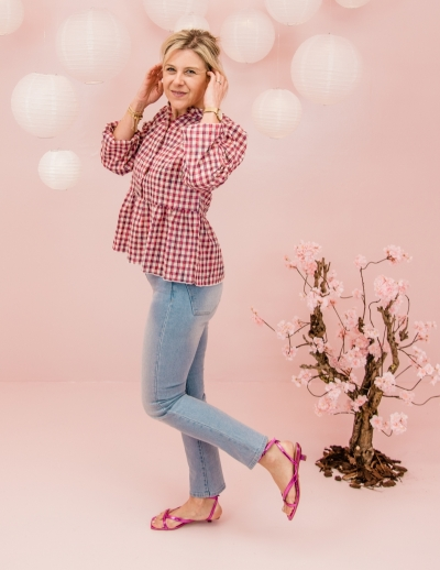 Rose blouse Pink check