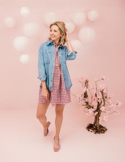 Vora dress pink check