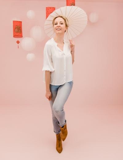 Tropical blouse blanc