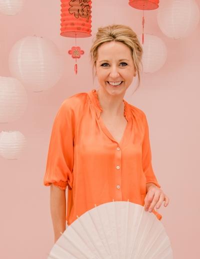 Tropical blouse mandarin