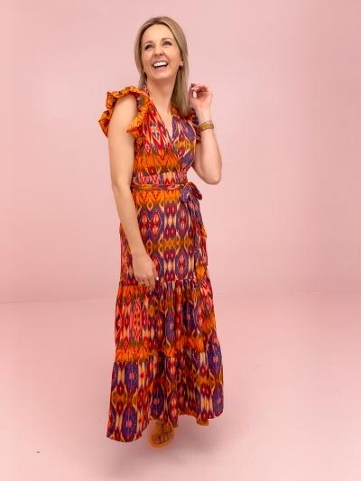 Lauren dress Azetec orange