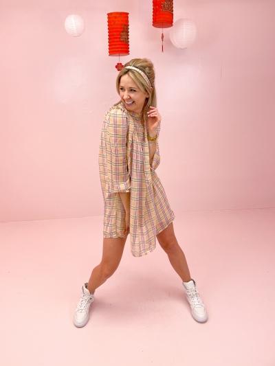 Celine dress pink check