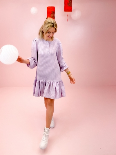 Taven Check dress pink/purple