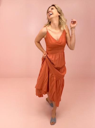 Tally strap dress Brick