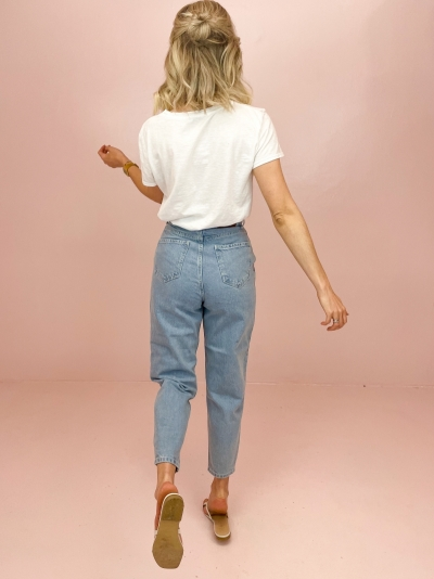 Cropped Balloon jeans ligth blue wash