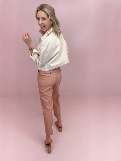 Cropped denim jacket  beige