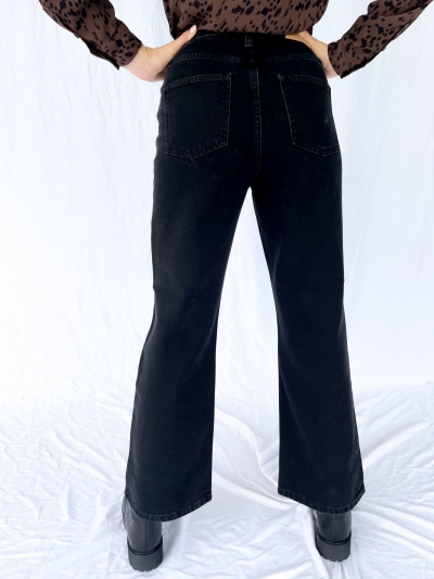 Highwaist Relaxed jeans washed black