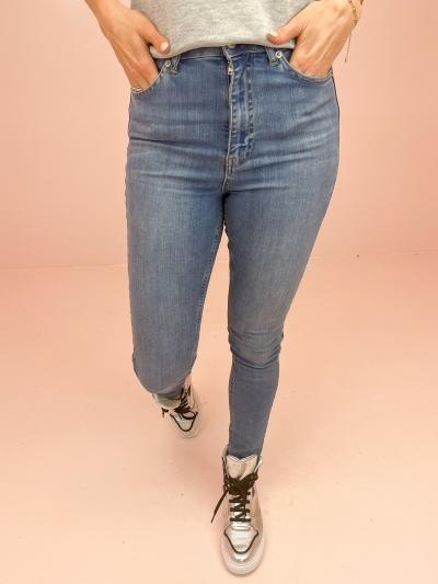 Skinny High waist raw mid blue