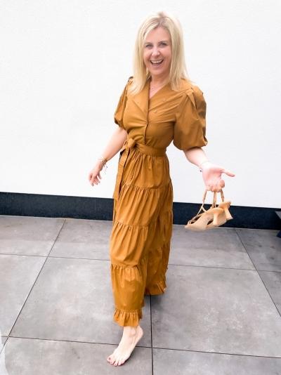 Athena midi dress bronze brown