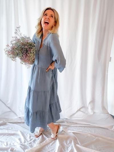 Siena Linen maxi dress blue