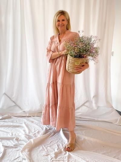 Siena Linen maxi dress rose