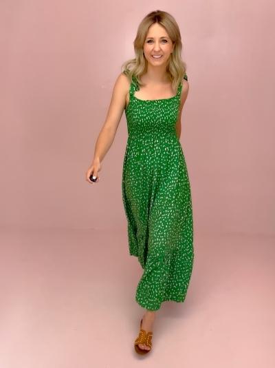 Green Flower Strap dress logo