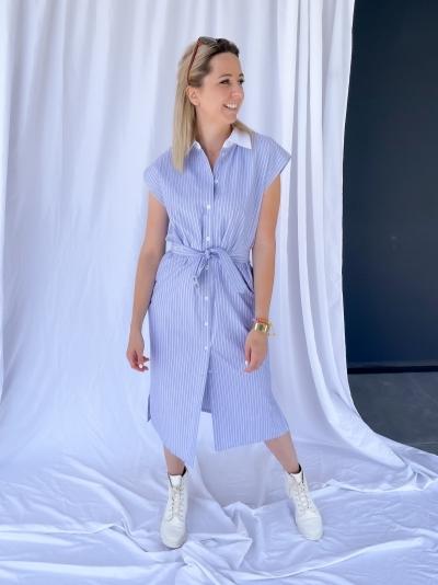 Lester dress lightblue/white