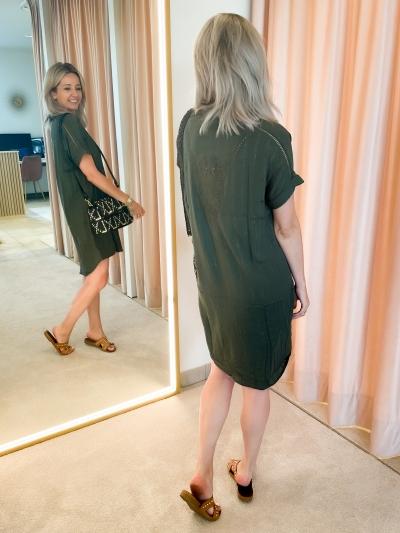 Woven Lurex Stripe Tunic  dark olive