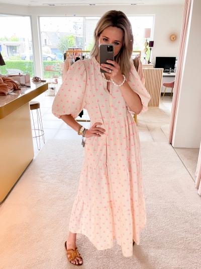 Cherry Floor dress neon pink