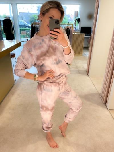 Holly print pants sage tie dye