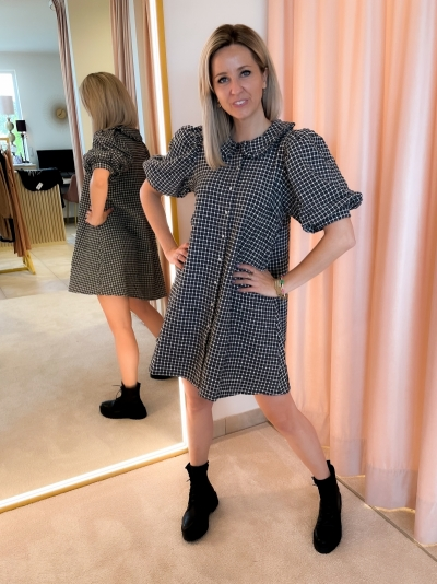 Jeanne short dress black checks