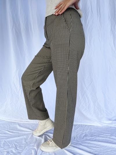 Pantalon pied de poule brun