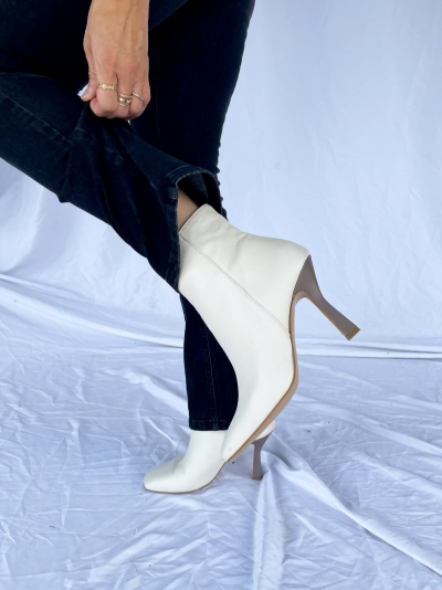 Paparazzi ankle boots ivory mouse