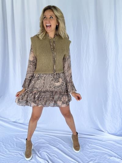 Oversized Short knitted vest khaki