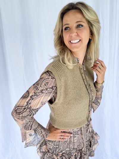 Oversized Short knitted vest logo