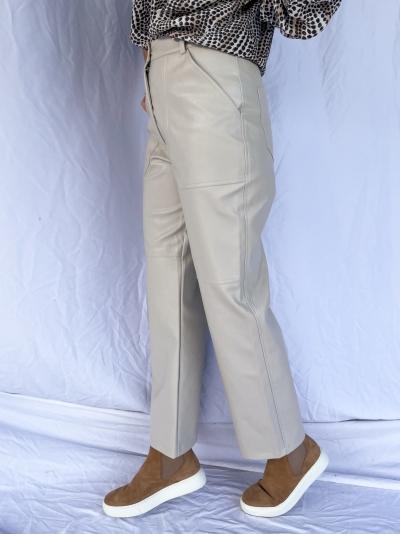 Straight leg vegan pants off white