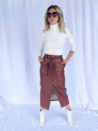 Vegan long slit skirt logo