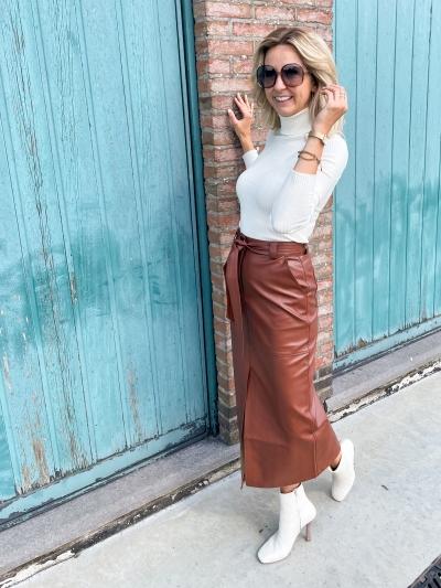 Vegan long slit skirt brown