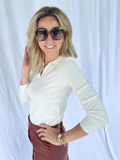 Buttoned detail sweater off white