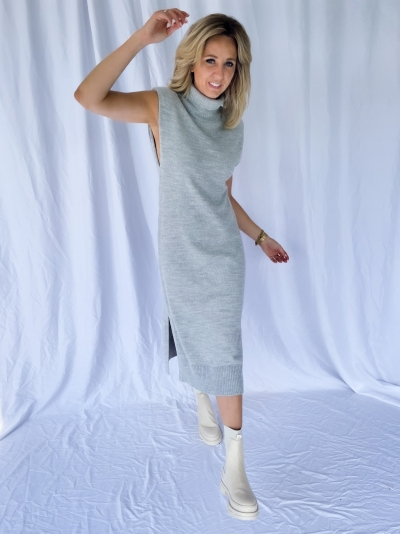 Padded high neck midi dress grey melange