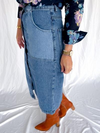 Pliny organic skirt light med wash