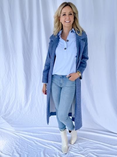 Chambray blouse blue