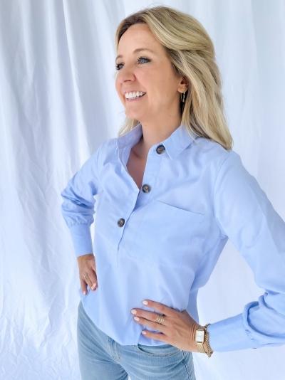 Chambray blouse logo