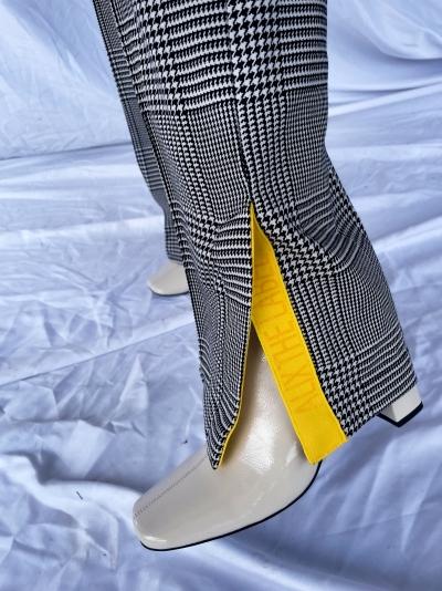 Check pants black/white