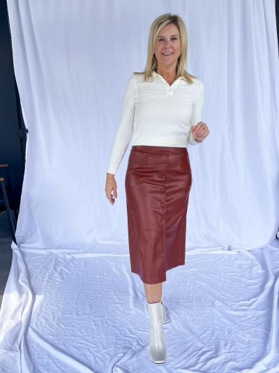 Brandy vegan leather skirt logo