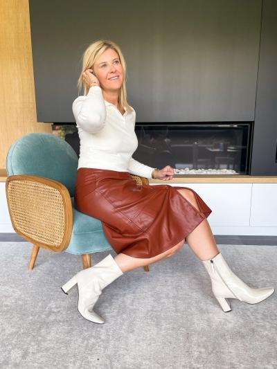 Brandy vegan leather skirt brandy brown