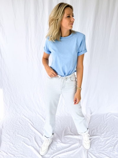 Fold up jeans bleached blue