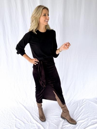 Estelle Velvet skirt velvet chocolat