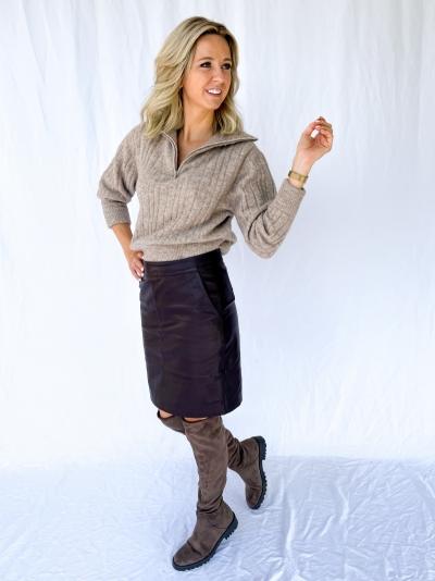 Char vegan mini skirt coffee bean