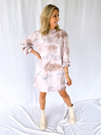 Holly print dress sage tie dye
