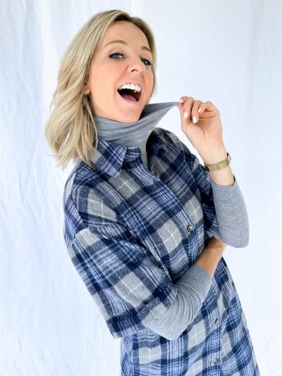 Abelle shirtdress blue blazer
