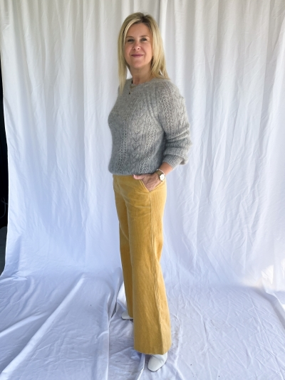 Frederika cable knit light grey